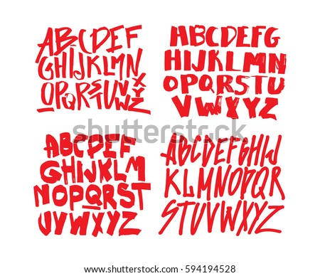 Set Of Graffiti Alphabets. Font For Your Design. Hand Drawn Calligraphy  Lettering Alphabet.