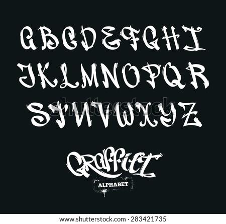 Set Graffiti Style Letters Streetart Alphabet Stock Photo Photo