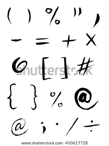 Set of grammar signs, symbols, icons. at sign, columns, apostrophe