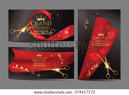 Set of grand opening banners with red ribbons and gold scissors - stock vector