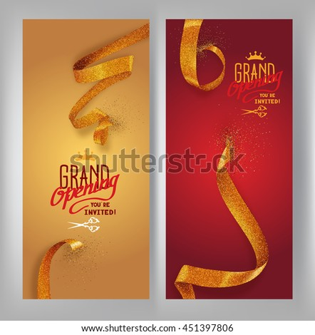 Set of grand opening vertical banners with gold sparkling ribbons. Vector illustration - stock vector