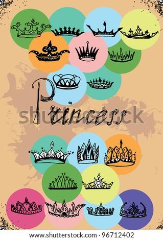 Set of grange crown - stock vector