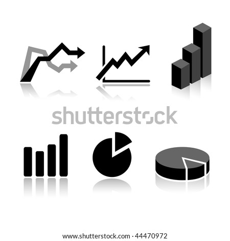 Set of 6 graph icon variations - stock vector