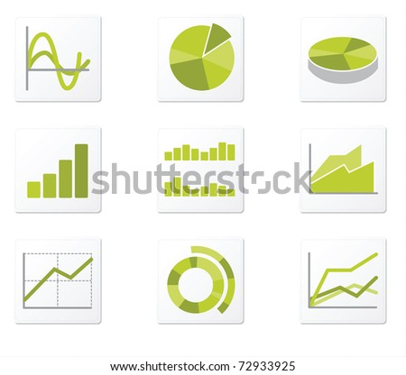 Set of 9 graph icon variations - stock vector