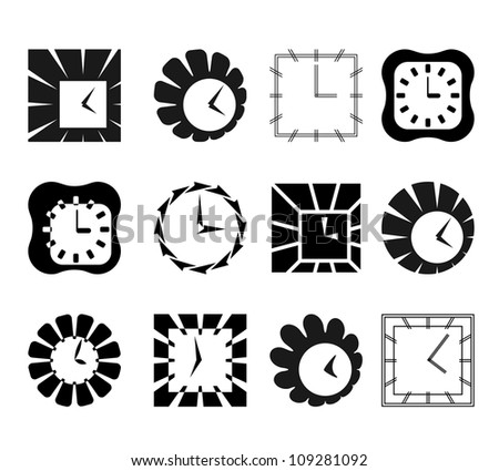 Set of graphic abstract clock symbols - stock vector
