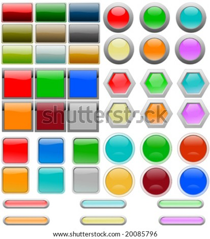 Set of graphic buttons and parts with reflection - stock vector