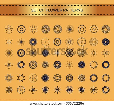 Set of Graphic design flower elements. Vector illustration. - stock vector
