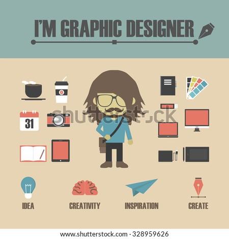 set of graphic designer's equipment, retro style - stock vector