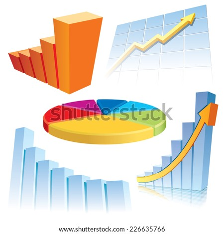 Set of graphic elements for business infographic presentation - stock vector