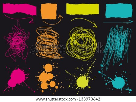 Set of graphic grunge elements - stock vector