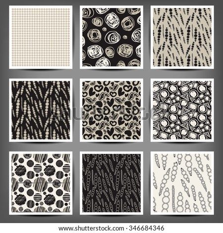 set of graphic seamless patterns heart cells