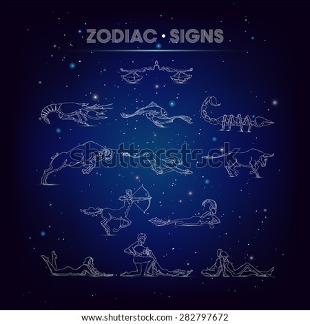 Set of graphic signs of the zodiac are on background of cosmic sky. A symmetry of flat contour figures. Profile in different poses: sitting, lying, standing, jumping, on the run, on the move, pulling - stock vector