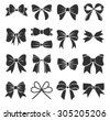 Set of graphical decorative bows. Vector sillouettes - stock vector