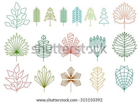 Set of graphical line trees and leaves, signs, logos and symbols.