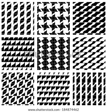 Set of grate seamless patterns with geometric figures, ornamental symmetric monochrome wavy tiles, infinite geometric surface textures with stars and squares, black and white abstract tiling. - stock vector