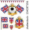 set of great britain football supporter flags and emblems, isolated on white - stock vector