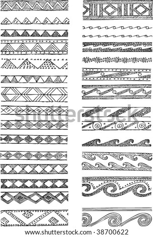 Set of Greek decorations - stock vector