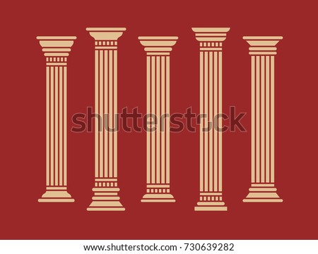 Set of greek roman and oriental columns. Vector isolated illustration. Beige color on red background.