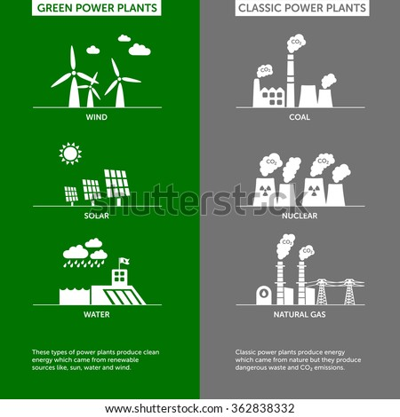 Set of green and classic power plants illustrations. Sustainable development concept and ecology theme. - stock vector