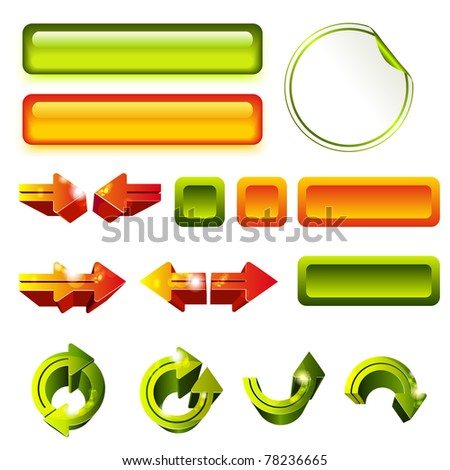 Set of green and orange elements for web-site - stock vector