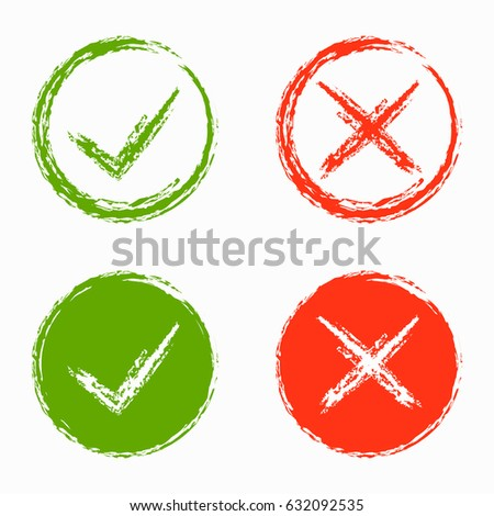 Set Green Red Cross Hook Checkmark Stock Vector Royalty Free