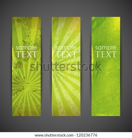 set of green banners with grunge cardboard texture - stock vector