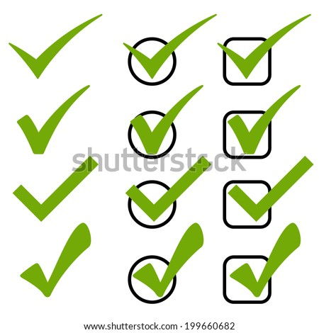 Set of green checks - stock vector