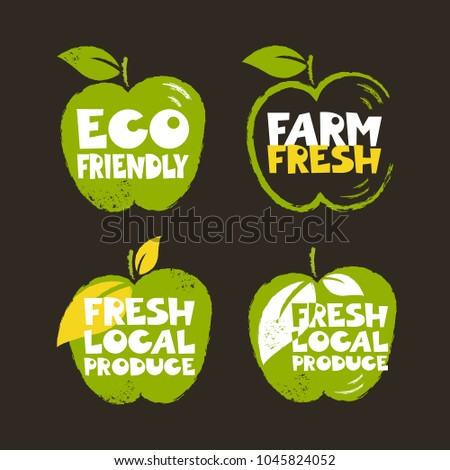 Set Of Green Colored Labels In Grunge Style Eco Friendly Farm Fresh