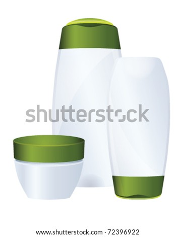 Set of green cosmetic bottles, vector - stock vector