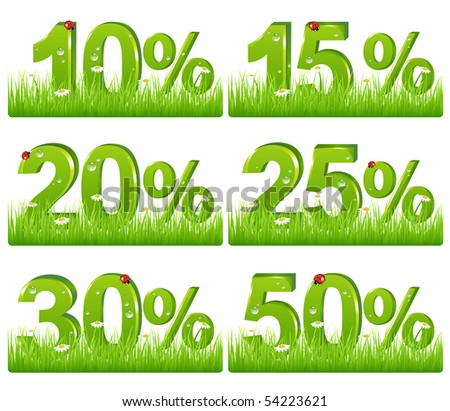 Set Of Green Discount Figures In Grass For Your Design, Isolated on white - stock vector