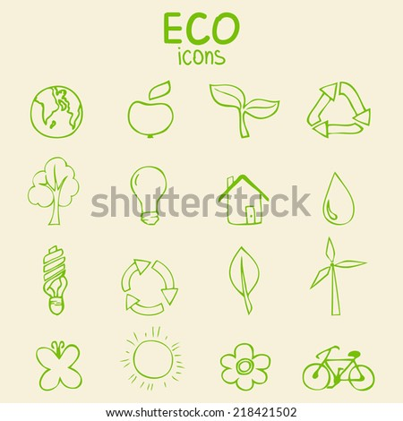 Set of green eco icons, hand drawn sketch vector illustration - stock vector