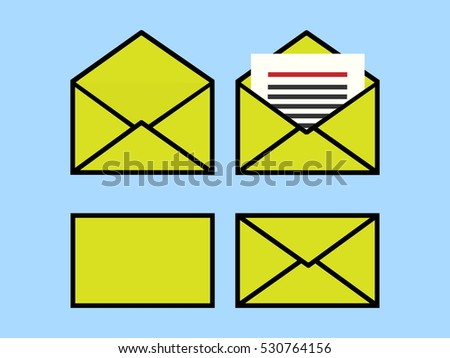 Set of green envelope, front view, back view, opened view, news letter in the envelope, on blue background