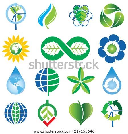 Set of Green Environmental Concept Icons - stock vector