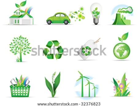 Set of green environmental icons. All elements and textures are individual objects. Vector illustration scale to any size. - stock vector