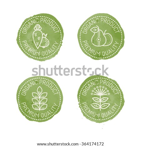 Set of 4 green Food Badges for organic (natural) products. Original design (stylized green stamp with a white text and linear style pictures). Organic product. Premium quality