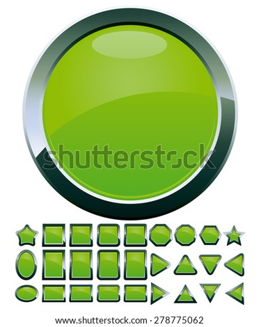 Set of 28 green glass buttons, glossy icons, web spheres, vector illustration