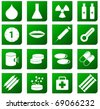 Set of Green Healthcare and Pharma icons - stock