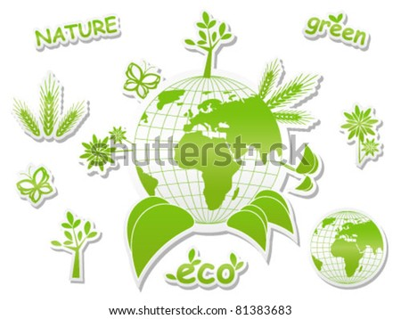 Set of green icons - concept of ecology