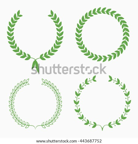 Set of green laurel wreaths on white background. Vector illustration