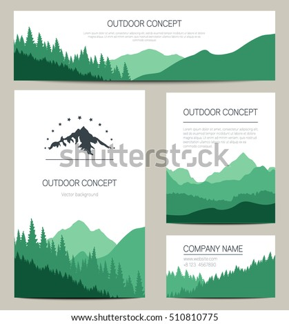 Set Of Green Mountains And Forest Backgrounds Vector Templates Design For Business Cards Greeting