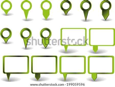Set of green pointers on white background with shadows