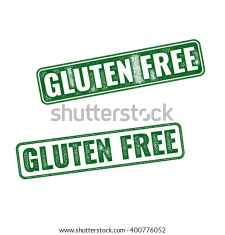 Set of green realistic vector Gluten Free grunge rubber stamp isolated on white background.  - stock vector