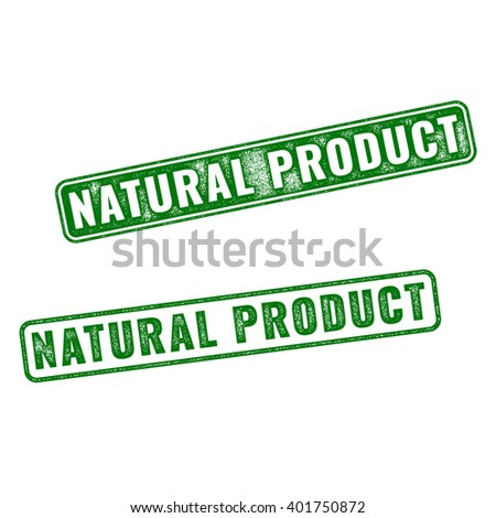 Set of green realistic vector Natural Product grunge rubber stamp isolated on white background.