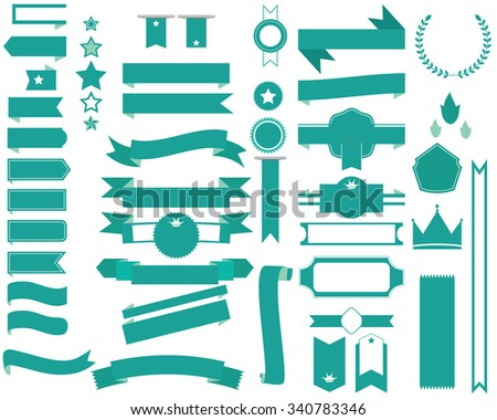 set of green ribbon banners and labels design element - stock vector