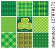Set of green seamless patterns for St. Patrick's Day - stock vector
