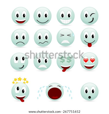 Set of green smiles. Vector illustration, isolated on a white.
