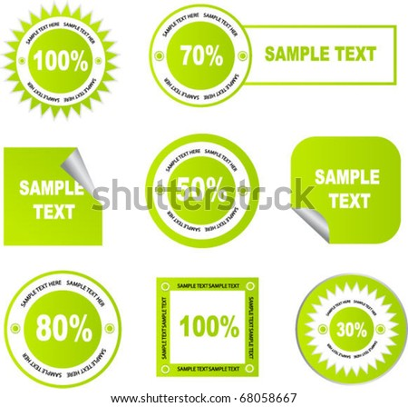 set of green stickers and tags - stock vector