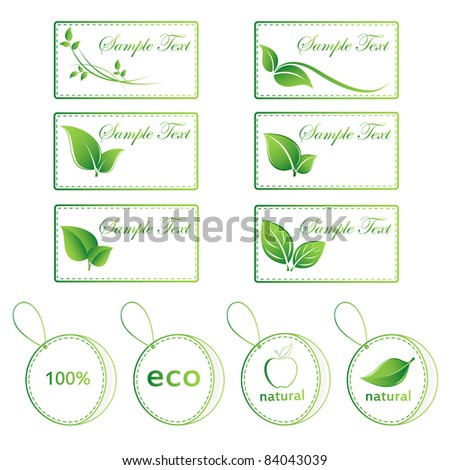 Set of green stickers. Elements for design . - stock vector