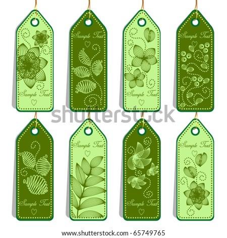 Set of green tags - stock vector