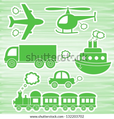 set of green transport icons on green background - stock vector